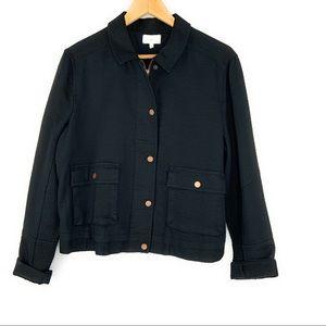 Lou & Grey Snap & Zip Front Textured Black Jacket